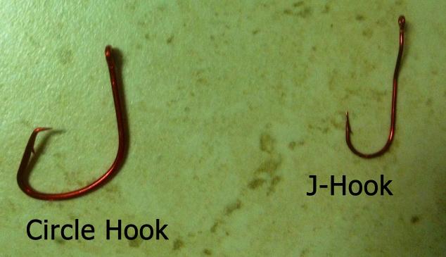 circle hook and j hook