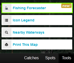 fishing forecaster in tools bar