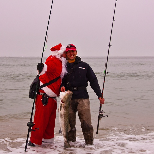 santa kissing fisherman