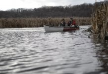 case canoe on the water