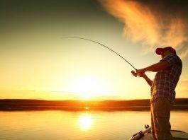fisherman reeling in fish