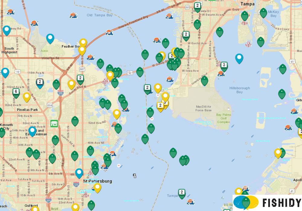 tampa bay fishing map - before