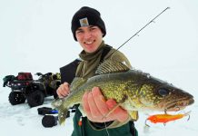 ice fishing walleye with lure