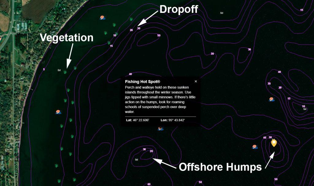structure sur la carte de pêche